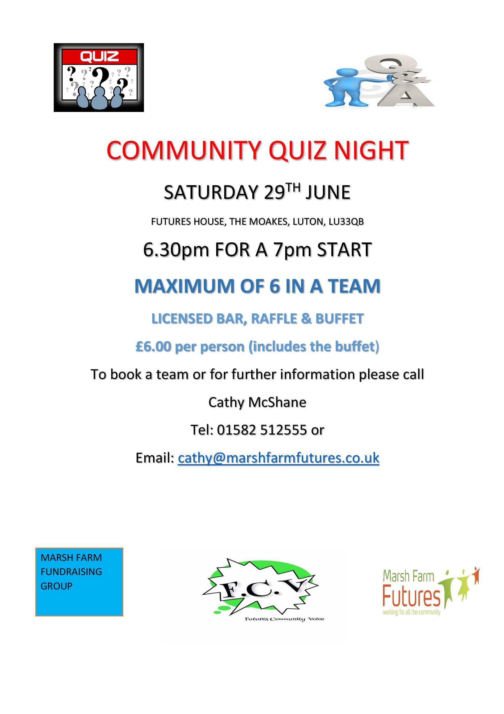 Community Quiz Night Marsh Farm Futures