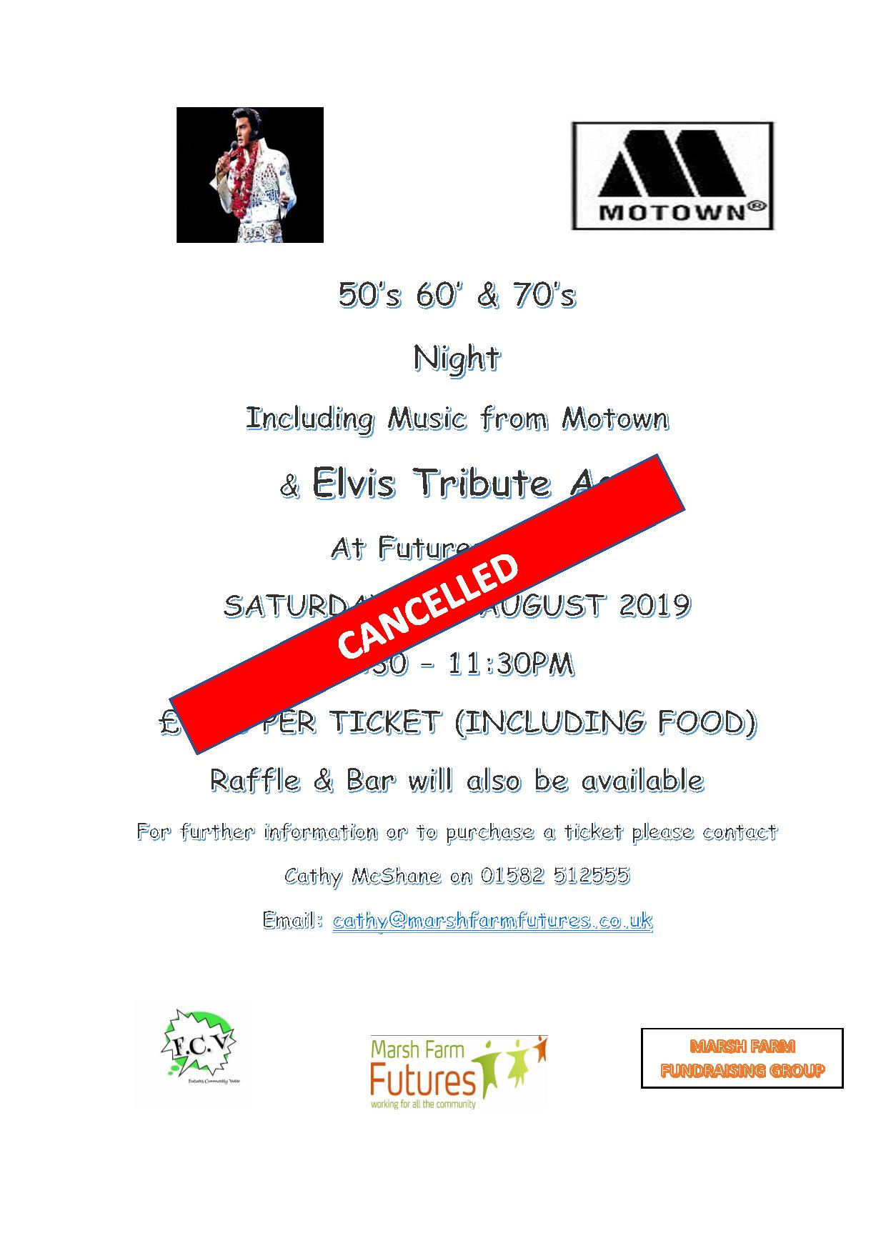 Elvis And Motown Night Cancelled Marsh Farm Futures